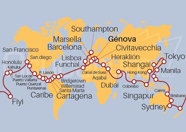 Itinerario Crucero Vuelta al Mundo 2021 desde Génova