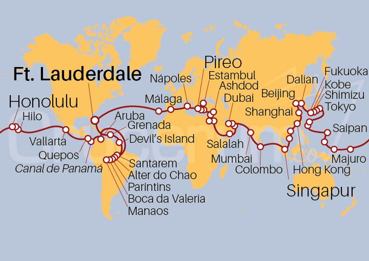 Itinerario Crucero Gran Vuelta al Mundo 2021