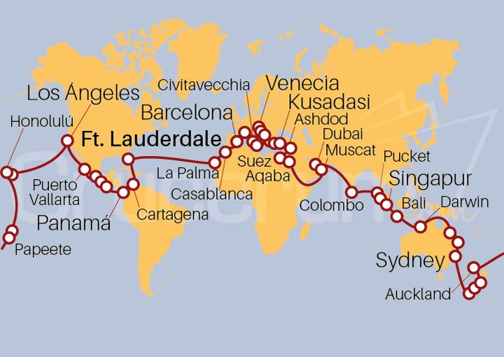 Itinerario Crucero Vuelta al Mundo 2021