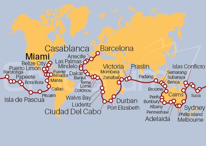 Itinerario Crucero Vuelta al Mundo 2021 - Océanos Extraordinarios