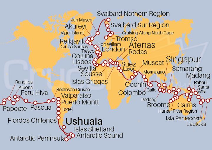 Itinerario Crucero Vuelta al Mundo 2021 (expedición)
