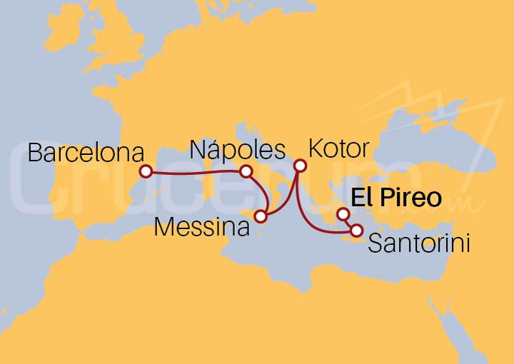 Itinerario Crucero Mediterráneo de Este a Oeste