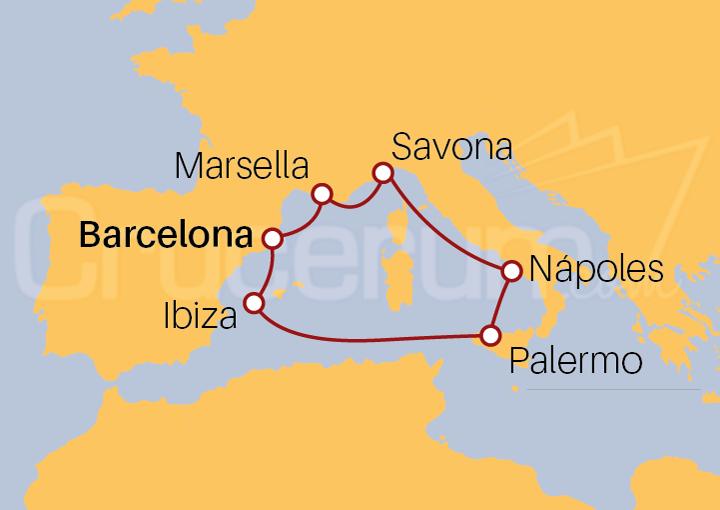 Itinerario Crucero España, Francia, Italia e Islas Baleares