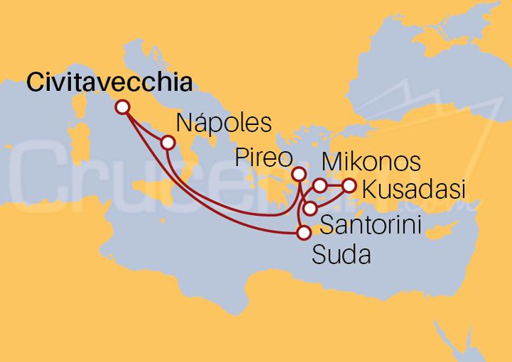 Itinerario Crucero Islas Griegas desde Roma