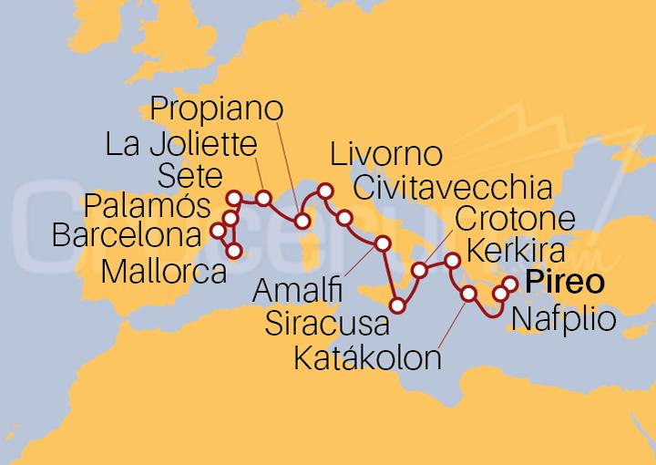 Itinerario Crucero De Atenas (El Pireo) a Barcelona