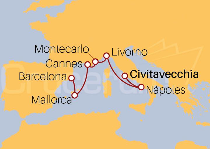 Itinerario Crucero De Civitavecchia (Roma) a Barcelona