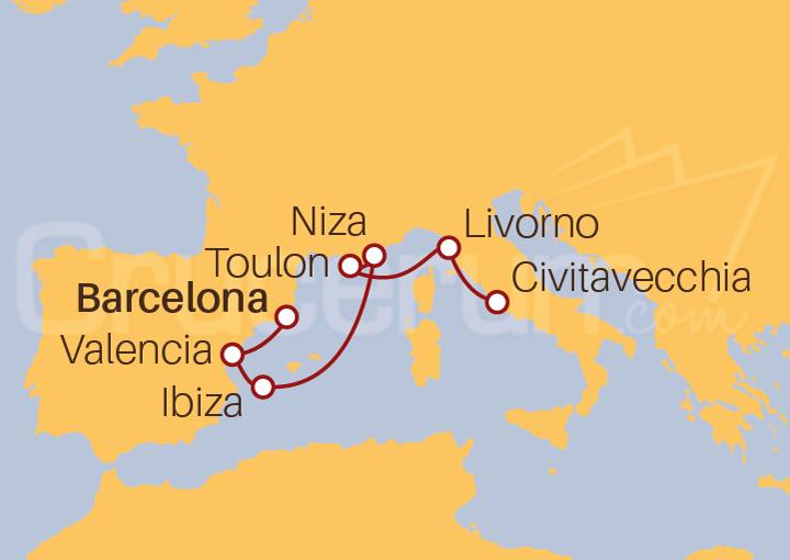 Itinerario Crucero De Barcelona a Civitavecchia (Roma)