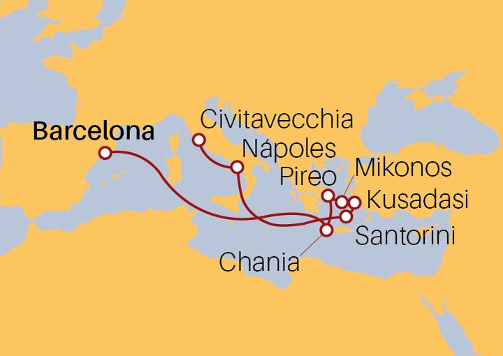 Itinerario Crucero Islas Griegas desde Barcelona