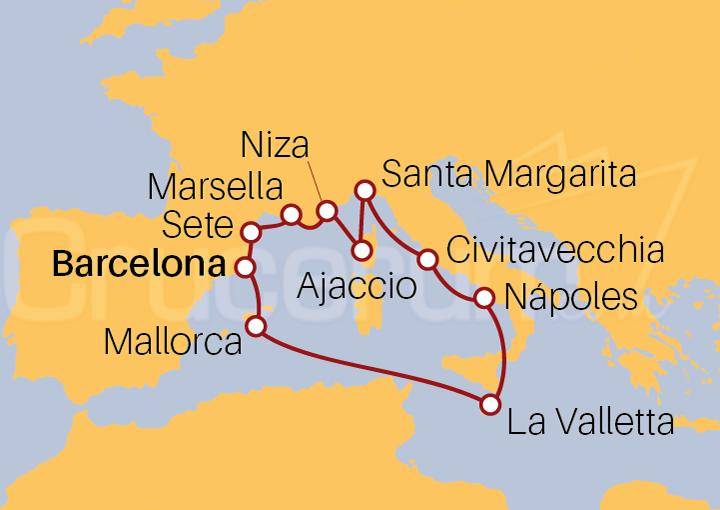 Itinerario Crucero Francia, Italia y España