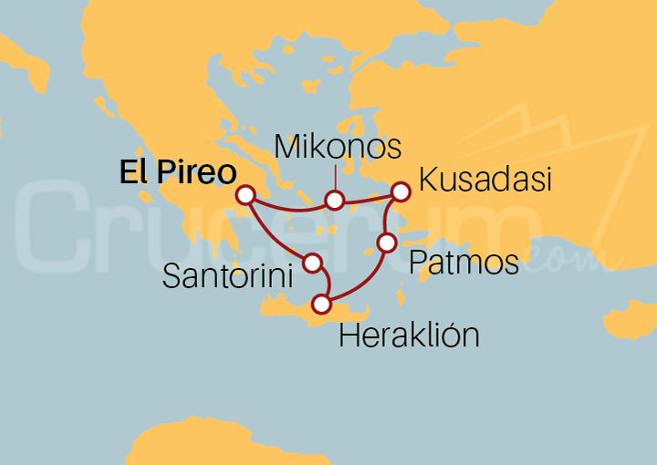 Itinerario Crucero Islas Griegas desde El Pireo