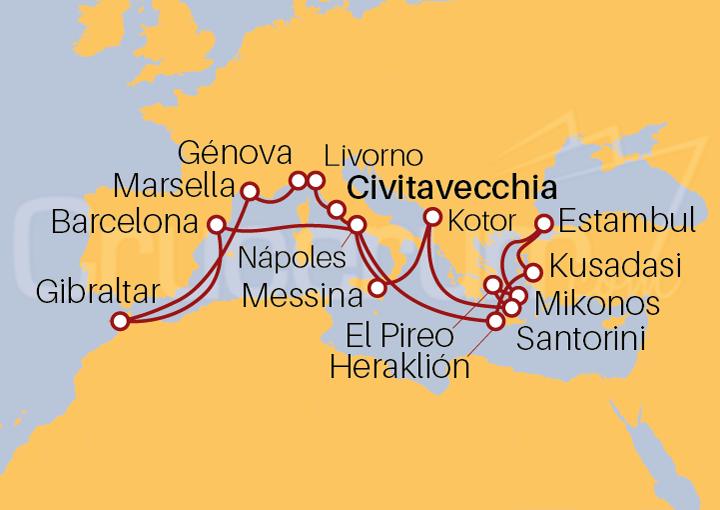 Itinerario Crucero Odisea Europea