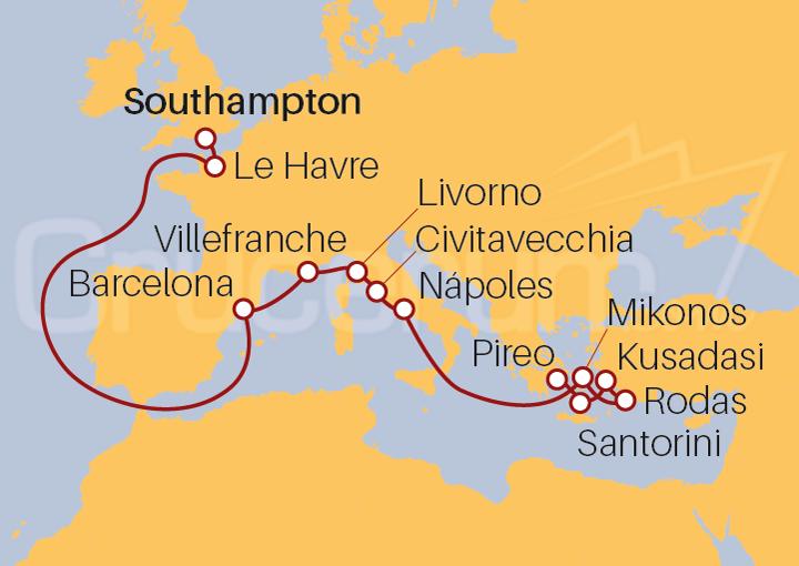 Itinerario Crucero Islas Griegas y Joyas Europeas