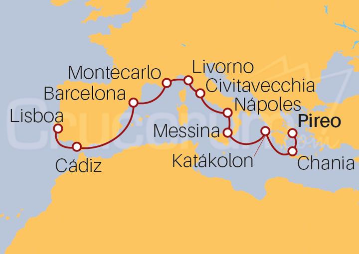 Itinerario Crucero Islas Griegas y Mediterráneo