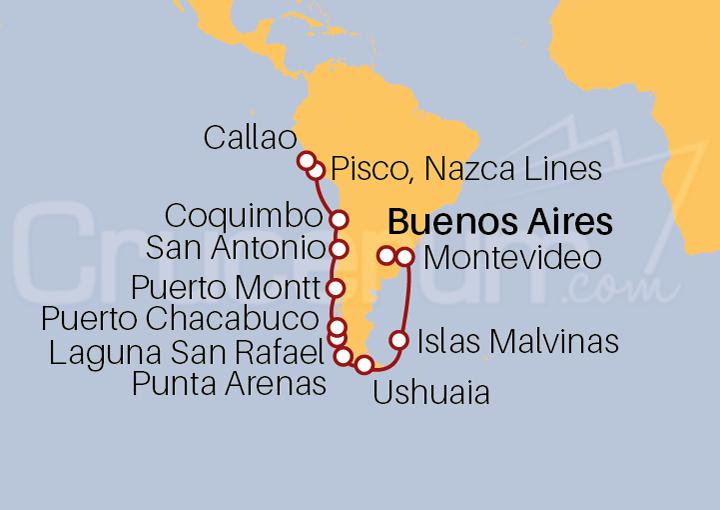 Itinerario Crucero Cabo Carismático desde Buenos Aires