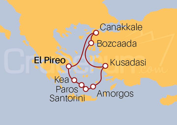 Itinerario Crucero Aventura por el Egeo