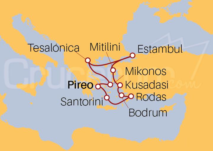 Itinerario Crucero Islas Griegas y Turquía