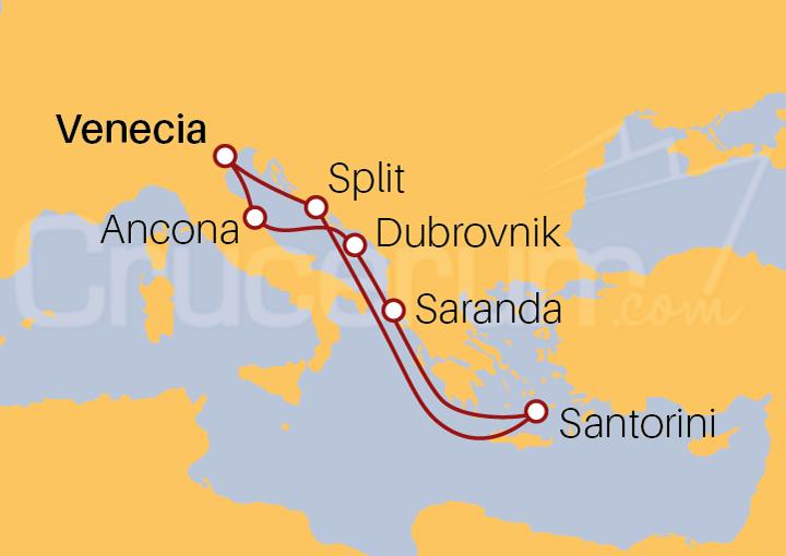 Itinerario Crucero Mar Adriático y Santorini