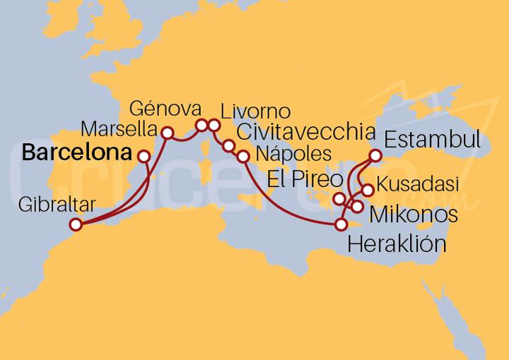 Itinerario Crucero Odisea: De Barcelona a El Pireo (Atenas)