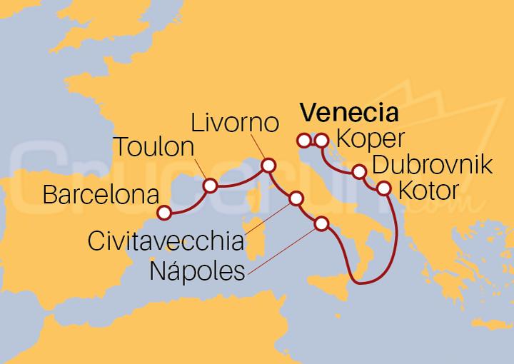 Itinerario Crucero De Venecia a Barcelona