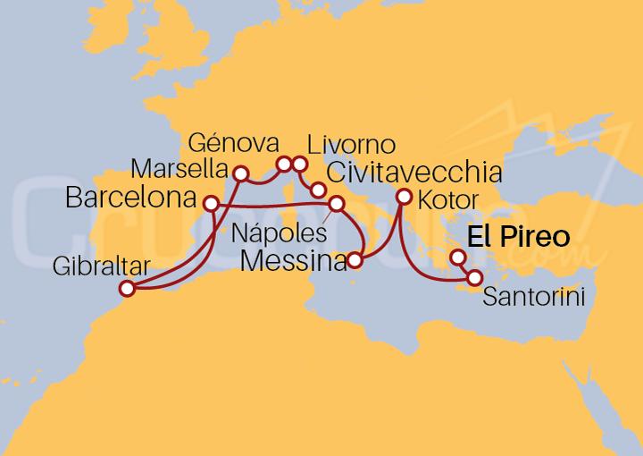 Itinerario Crucero Odisea: De Atenas a Roma