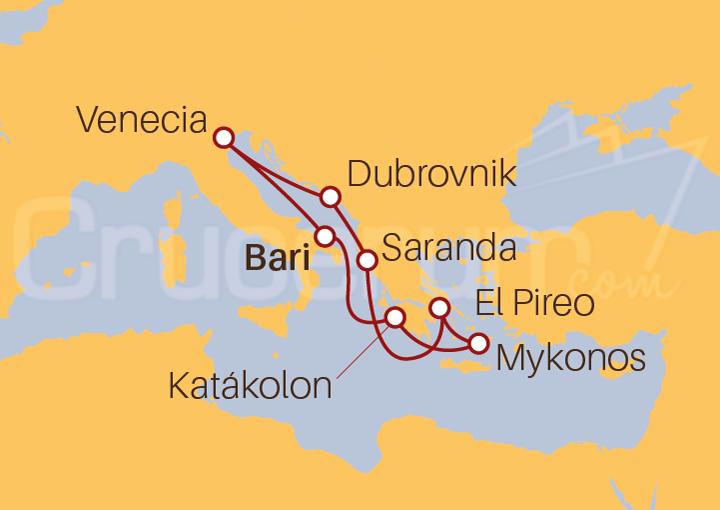 Itinerario Crucero Italia, Grecia, Albania y Croacia