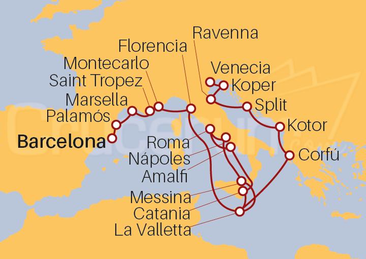 Itinerario Crucero Famosos y Gondoleros
