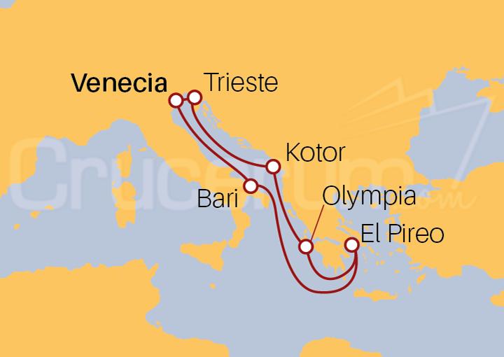 Itinerario Crucero Italia, Montenegro y Grecia