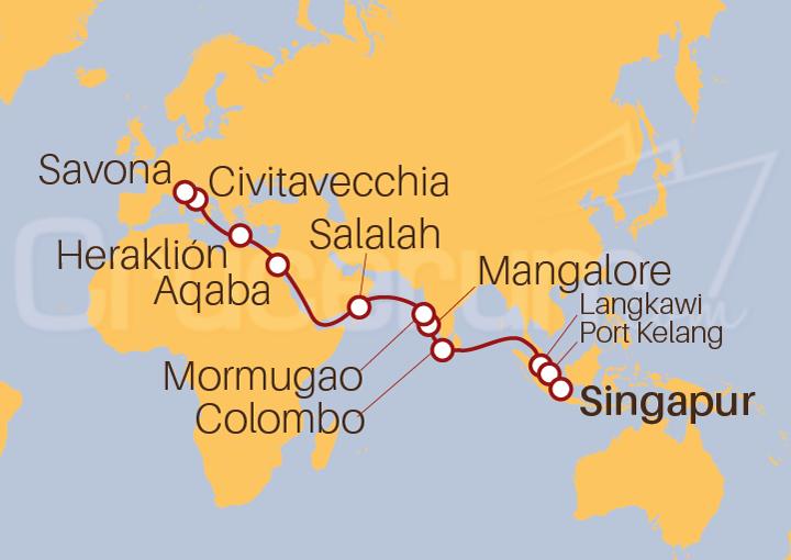 Itinerario Crucero De Singapur a Savona (Italia)