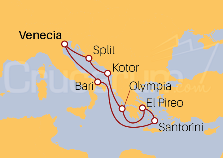 Itinerario Crucero Italia, Croacia, Montenegro y Grecia