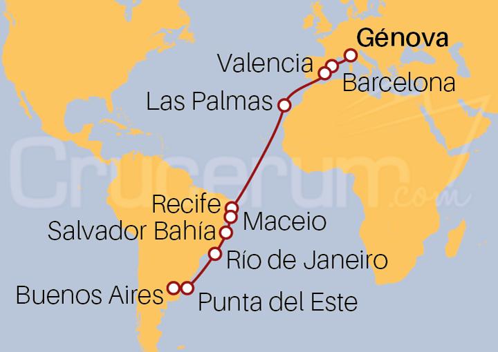 Itinerario Crucero De Génova (Italia) a Buenos Aires (Argentina)