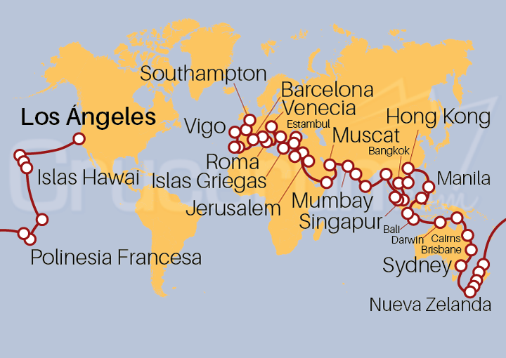 Itinerario Crucero Descubre la Vuelta al Mundo 2021 de Viking