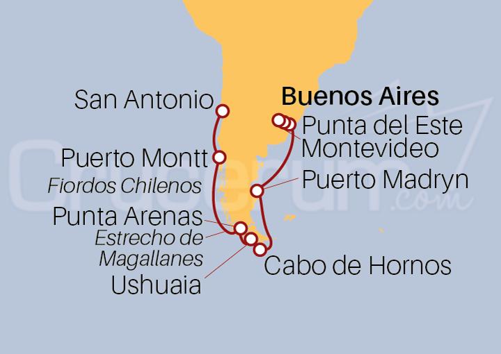 Itinerario Crucero De San Antonio (Chile) a Buenos Aires (Argentina)