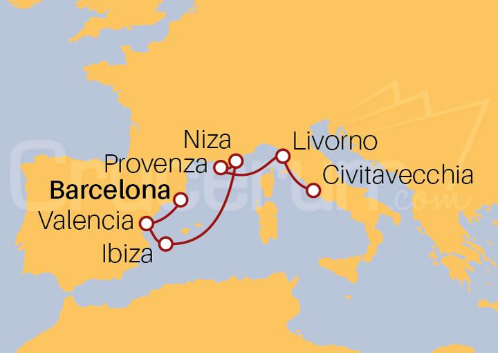 Itinerario Crucero Islas Baleares, Francia e Italia