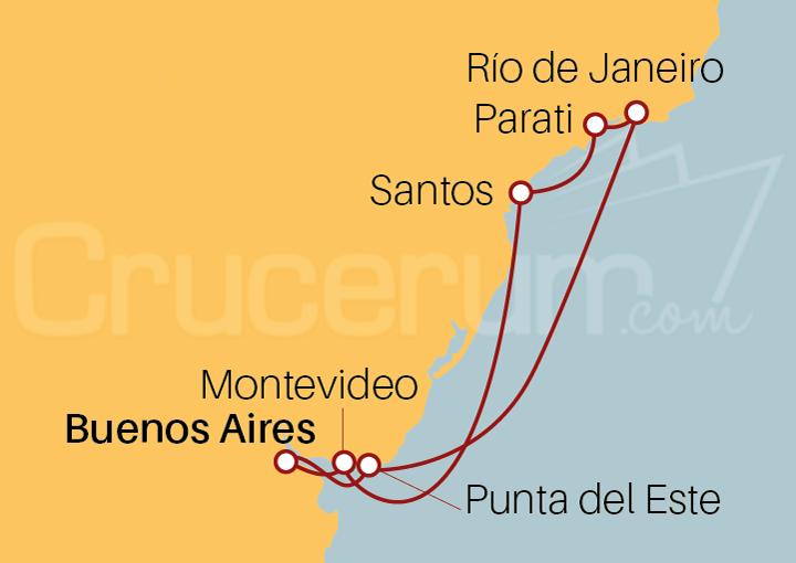 Itinerario Crucero Argentina, Uruguay y Brasil