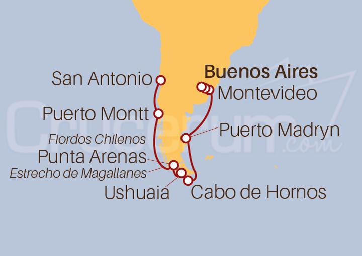 Itinerario Crucero De Buenos Aires (Argentina) a San Antonio (Chile)