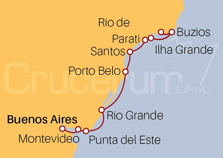 Itinerario Crucero Destacados de Brasil desde Buenos Aires