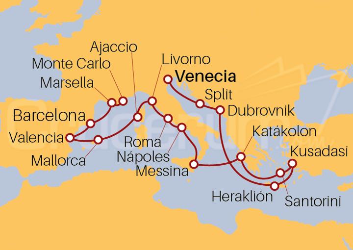 Itinerario Crucero De Venecia a Montecarlo