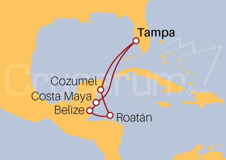 Itinerario Crucero Caribe Occidental desde Tampa (EE UU)
