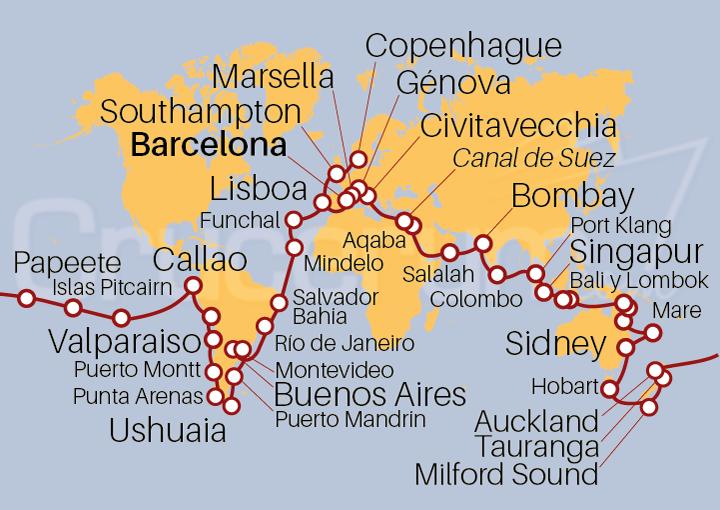 Mapa vuelta al Mundo 2022 126 días @Crucerum