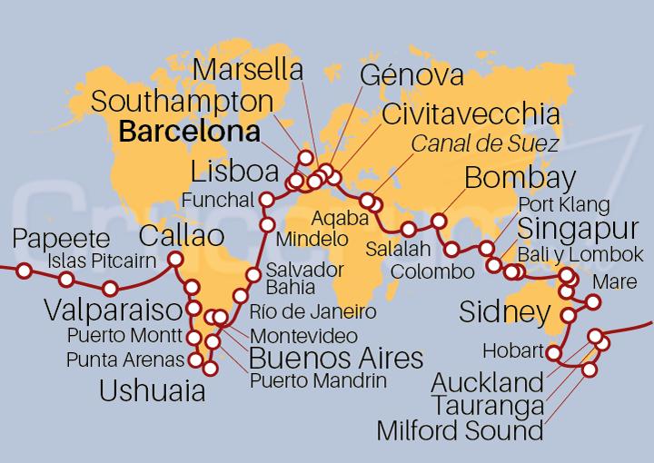 Itinerario Crucero Vuelta al Mundo 2022 123 días