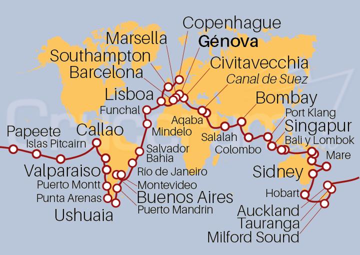 Itinerario Crucero Vuelta al Mundo 2022, 128 días