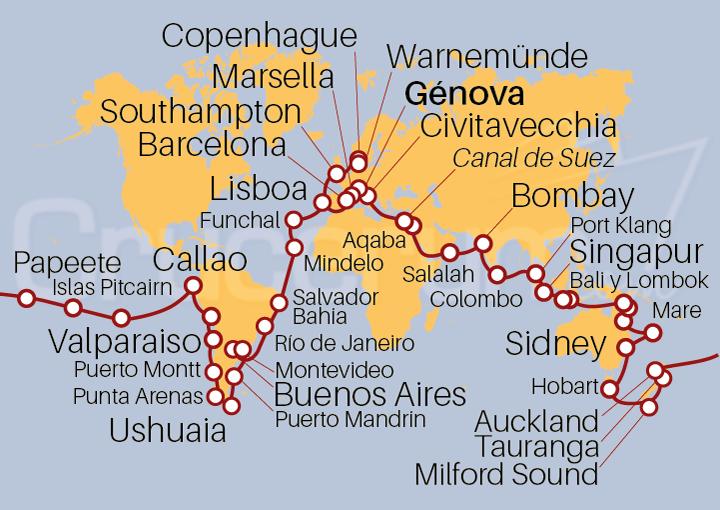 Itinerario Crucero Vuelta al Mundo 2022 129 días