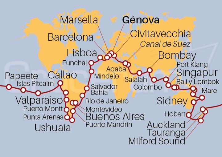 Itinerario Crucero Vuelta al mundo 2022 117 días