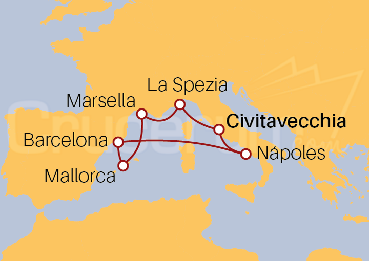 Itinerario Crucero Mediterráneo desde Civitavecchia (Roma)