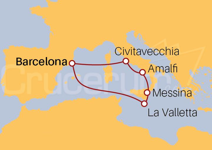 Itinerario Crucero 7 noches por el Mediterráneo