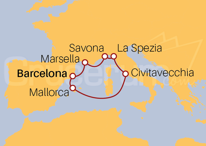 Itinerario Crucero Chispeante Mediterráneo