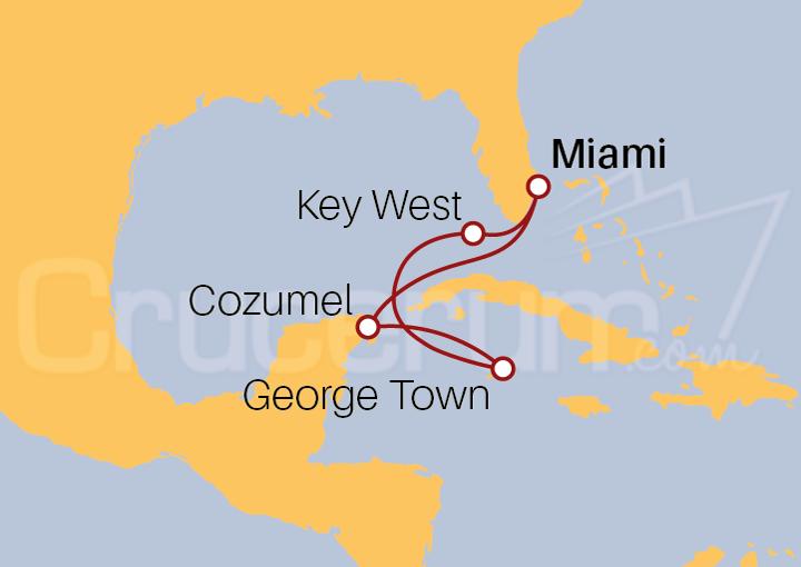 Itinerario Crucero Islas Caimán y México desde Miami