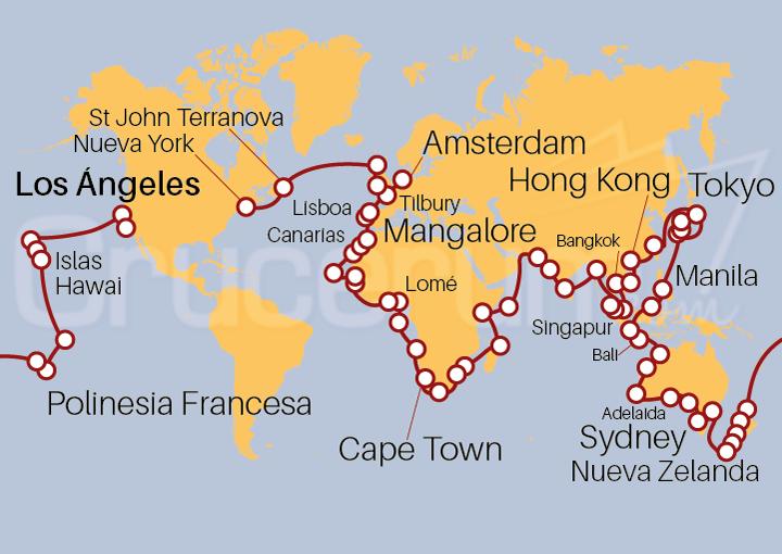 Itinerario Crucero La Vuelta al Mundo en 180 días