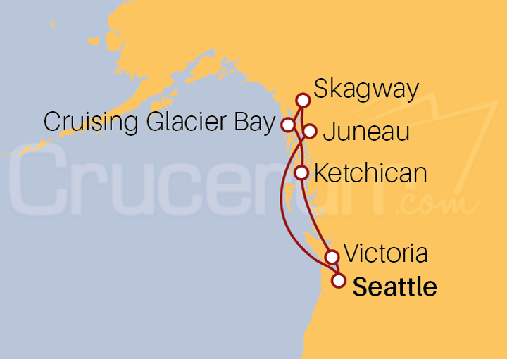 Itinerario Crucero Alaska desde Seattle (EE UU)