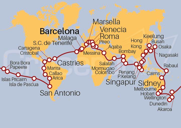 Itinerario Crucero Vuelta al Mundo 2022 120 días
